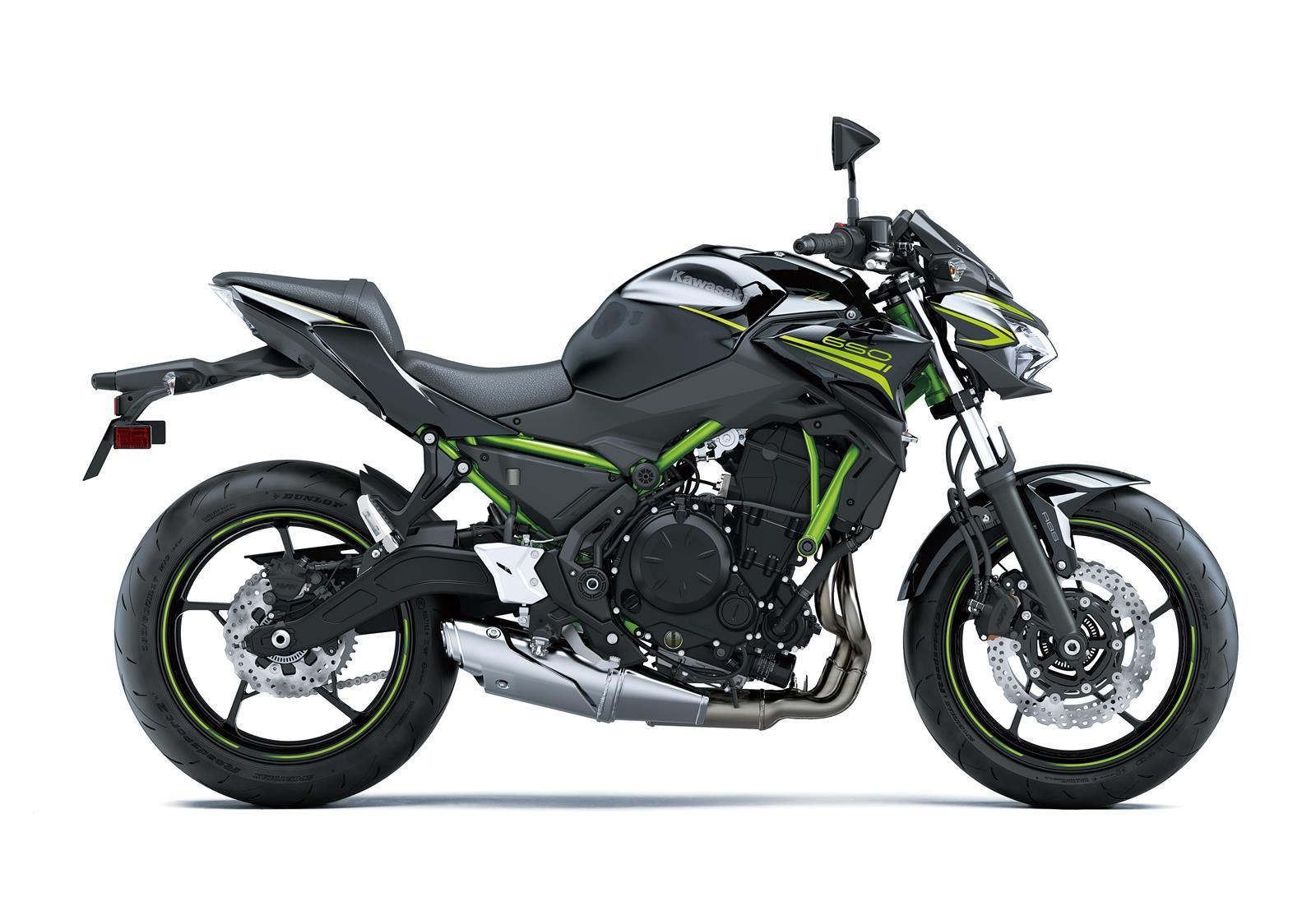 Z650 2020 color negro con chasis verde