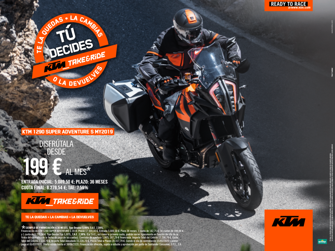 KTM Adventure 1290 financiación TAKE&RIDE desde 199€ al mes