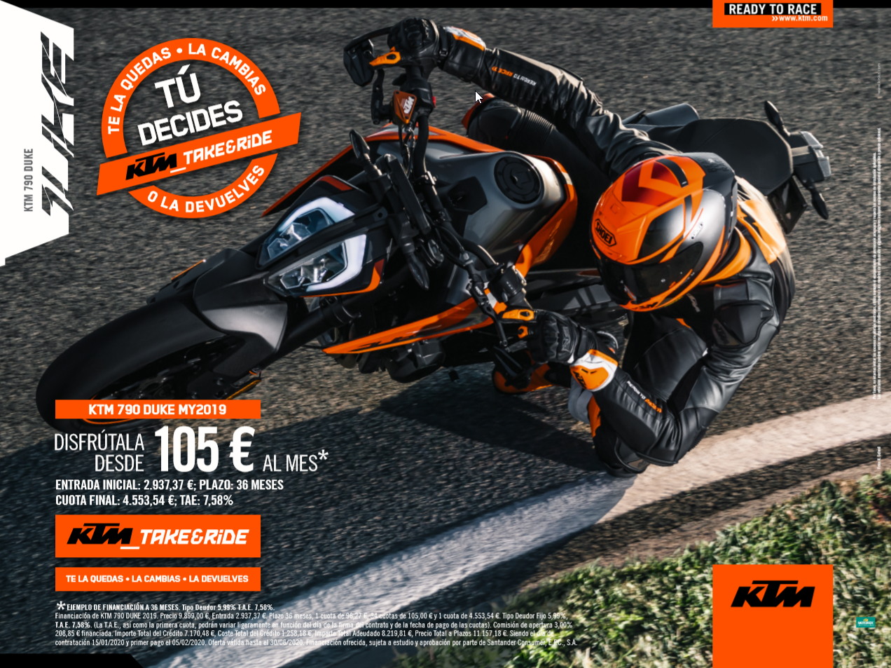 KTM Duke 790 financiación TAKE&RIDE desde 105€ al mes
